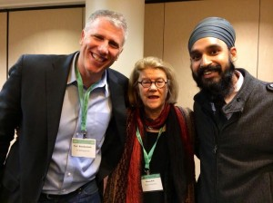 Dr. Diana Eck and Paul Raushenbush pose with Contributing Scholar Simran Jeet Singh after State of Formation's first annual workshop at the AAR/SBL meeting.