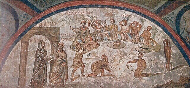 Painting of a feast / Early Christian catacombs / Paleochristian art / Tomb of Vibia - Catacumbes of Domitila - Rome. Paradise Sacred (Banquet Justos Anunciacio?)  Source: