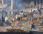 Bodies waiting to be cremated on the Ghat in Varanasi, India