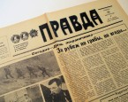 The Soviet newspaper Pravda (Truth)