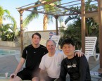 Brian Cohee with Jonathan Oskins and Yong Hwan Kim enjoying the water