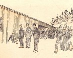 "Flossenbürg by A. Kryszczak - Przed blokiem XXIII (crop).jpg. ""In front of block 23"" Drawing by Stefan Kryszczak survivor of Flossenbürg concentration camp. Drawing done in ink on tracing paper. The heirs of this work's copyright holder (usually the creator) have released it into the public domain. This applies worldwide."