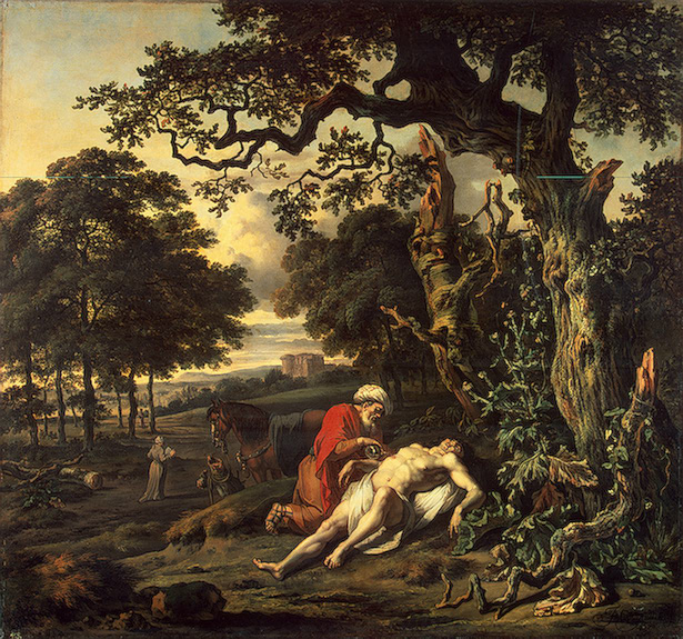 This painting, Parable of the Good Samaritan was done by Jan Wijnants in 1670 and is available through Wikimedia Commons.