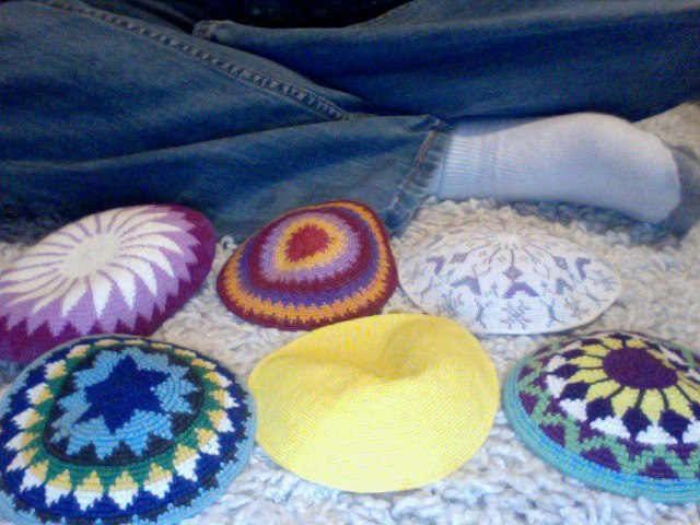6 of my kippot packed for a trip; Photo courtesy of author