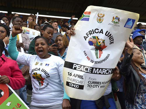 A huge and diverse group of South African citizens and residents rally at the Africa Unite Peace March on April 16, 2015.
