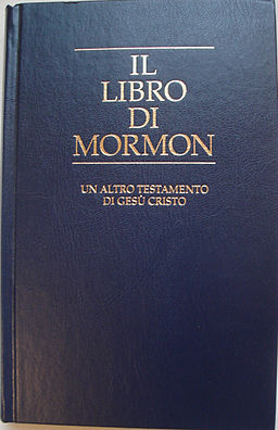By Barbaricino (Own work) [Public domain], via Wikimedia Commons.  http://upload.wikimedia.org/wikipedia/commons/f/fa/Libro_di_Mormon.JPG