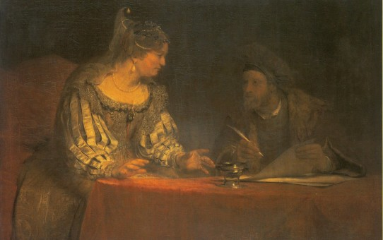 Esther and Mordecai writing the First Letter of Purim -- Arent de Gelder, c. 1685