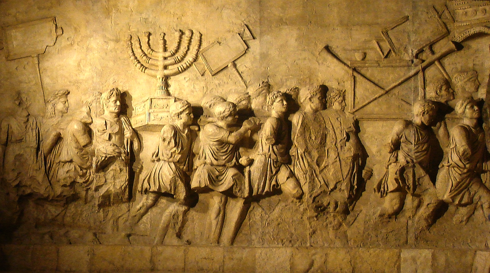 The Arch of Titus depicts the looting after the destruction of the Second Temple, which the holiday of Tisha B'Av commemorates.