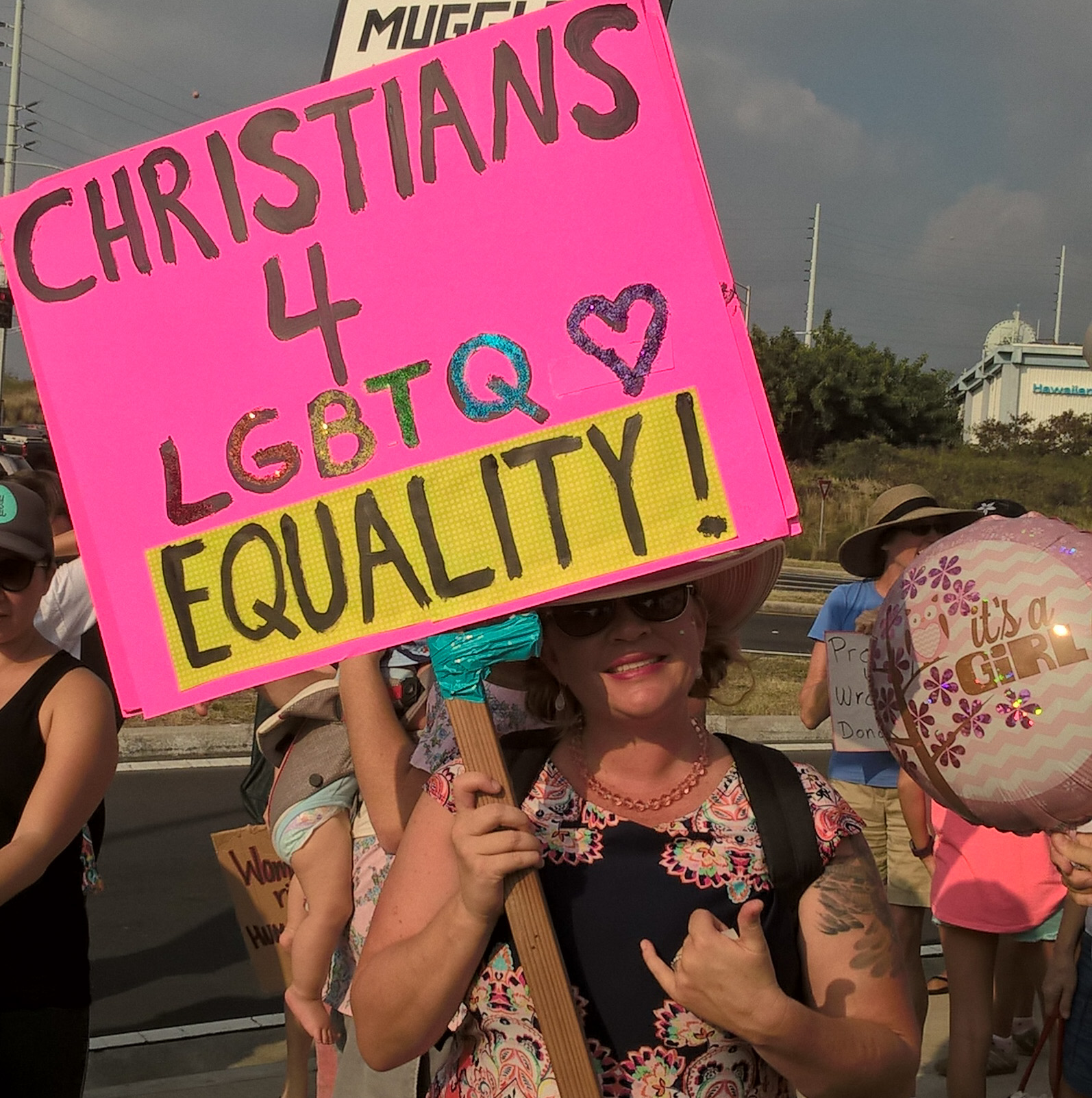 Christian protester at Women's March, photo by Patricia 'Iolana