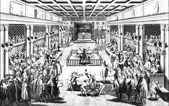 PURIM CEREMONIES IN THE SYNAGOGUE AT AMSTERDAM.(From the amsterdam Edition of Calmet Printed in 1731.)
